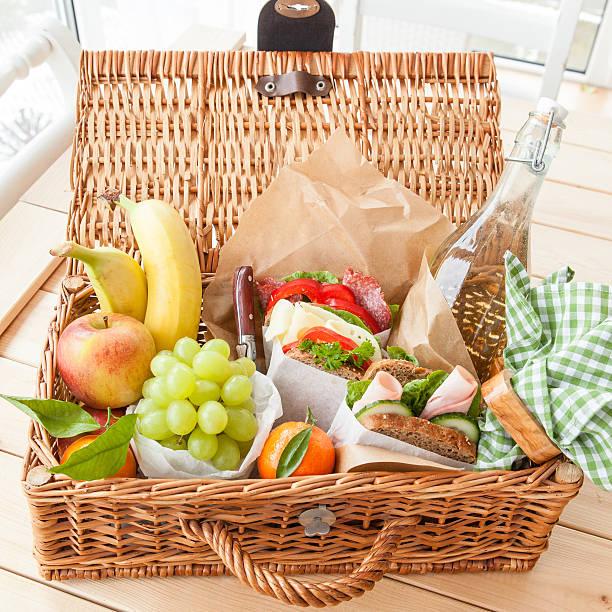 Filled picnic basket stock photo