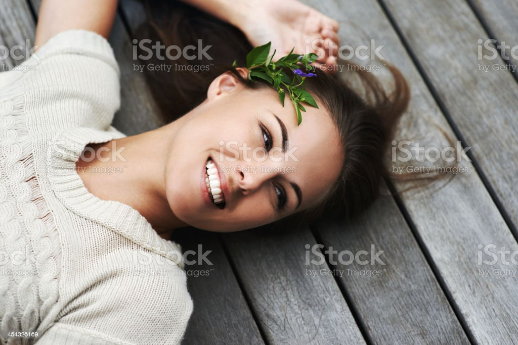 Filled with positive natural energy stock photo