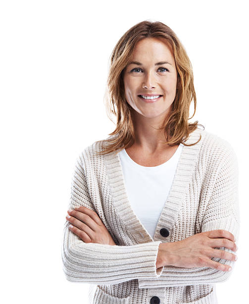Filled with self-confidence A cropped shot of a casually dressed woman smiling with her arms folded while isolated on white 30 34 years stock pictures, royalty-free photos & images