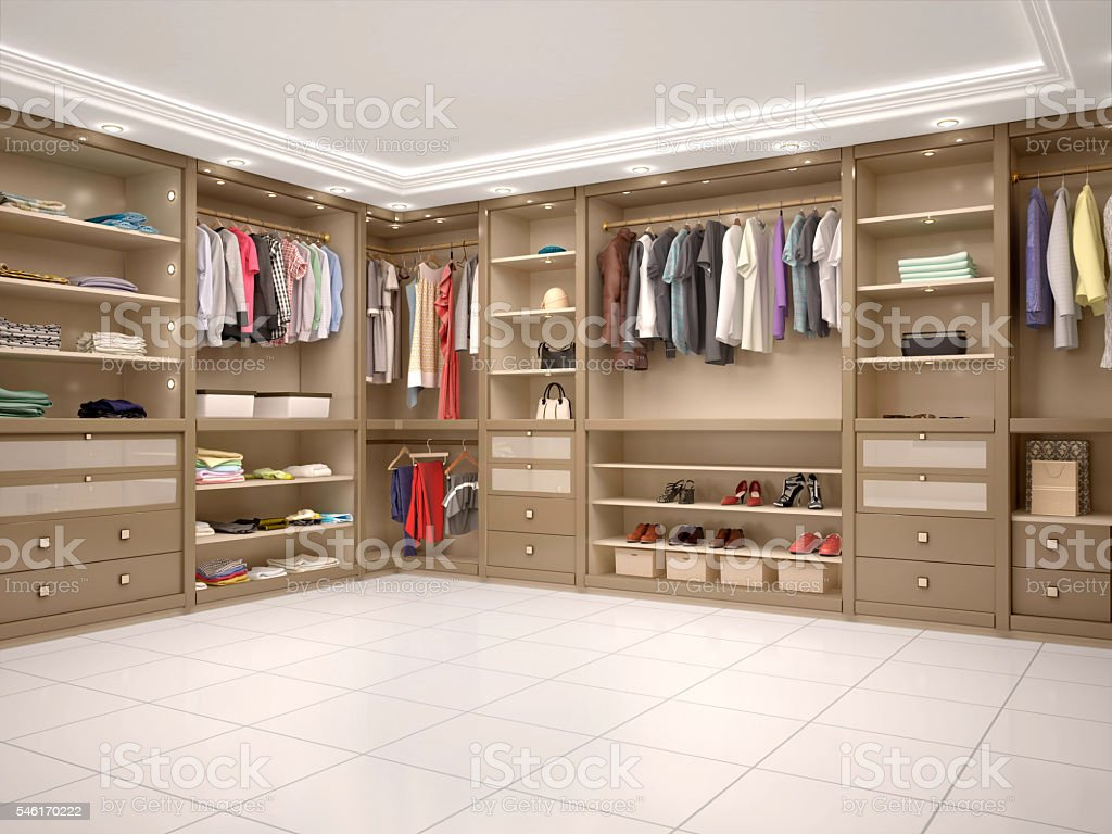 filled with wardrobe in a modern style. stock photo