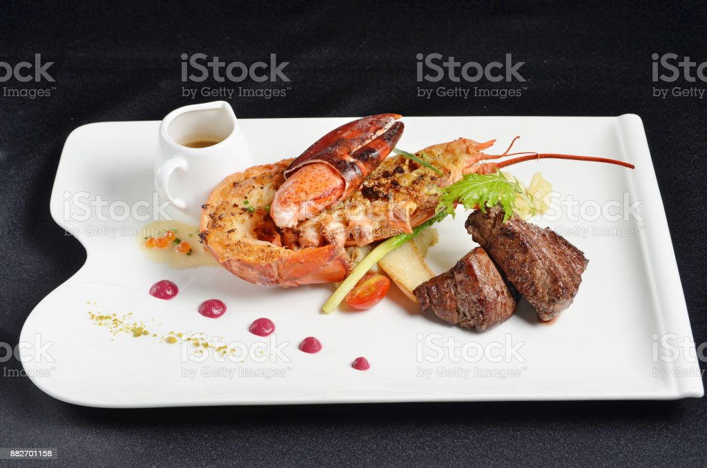 Fillet mignon and lobster stock photo