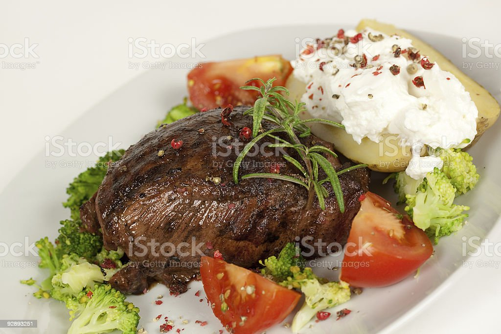 Fillet Mignon-juicy and grilled, pepper steak royalty-free stock photo