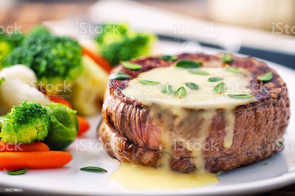 Fillet of beef with béarnaise sauce. stock photo