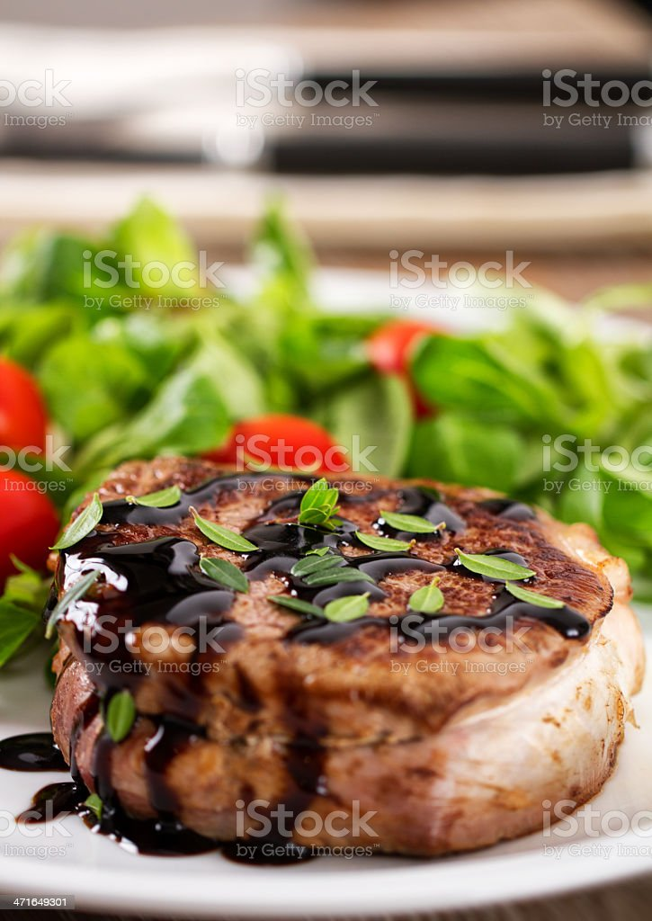 Fillet of beef with mixed salad stock photo