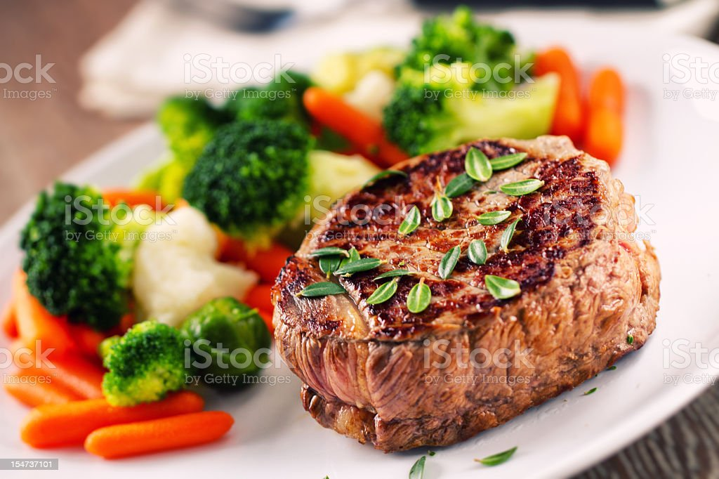 Fillet of beef with mixed vegetables. stock photo