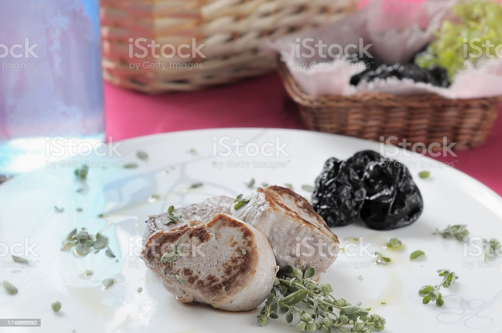 Fillet of pork with prunes royalty-free stock photo