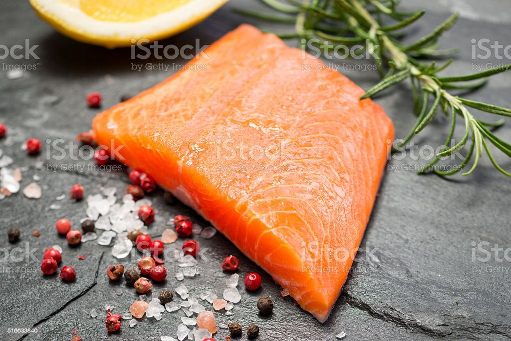 Fillet of Rainbow Trout with Lemon and Pepper stock photo