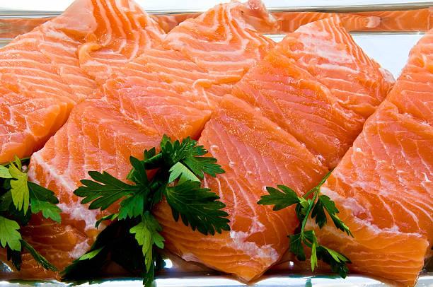 Fillet of salmon stock photo