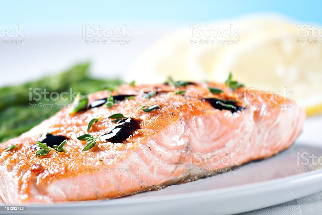 Fillet of salmon with asparagus royalty-free stock photo