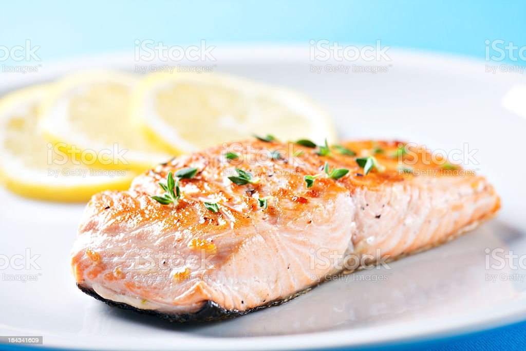Fillet of salmon with asparagus stock photo