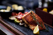 Fillet of  grilled salmon with vegetable