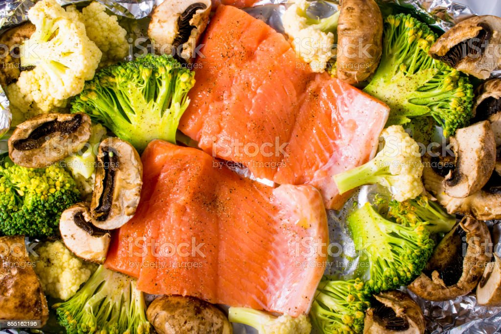 Fillet of salmon with vegetables stock photo