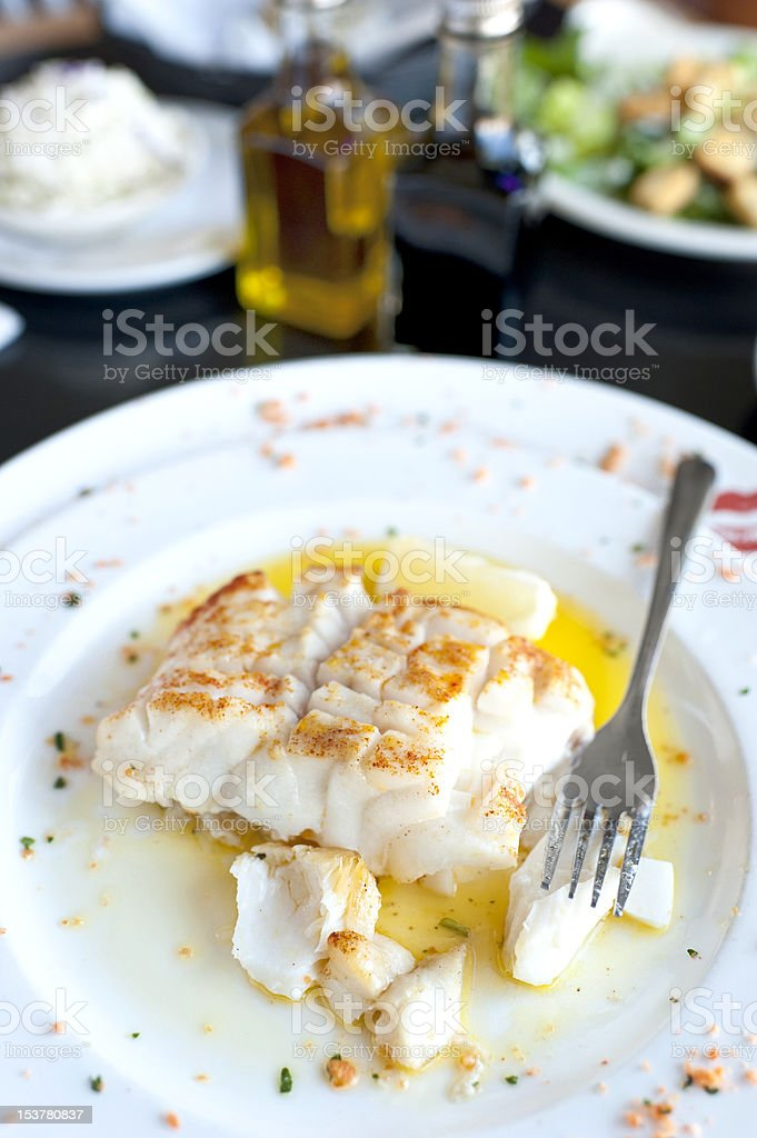 Fillet of  Seabass in lemon and butter sauce stock photo
