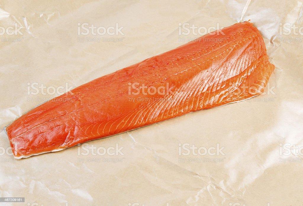 Fillet of Wild Sockeye Salmon in Wax Paper royalty-free stock photo