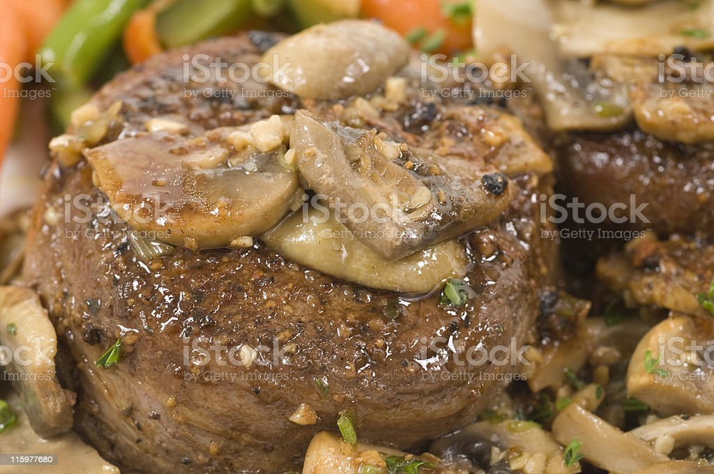 fillet with mushrooms and garlic royalty-free stock photo