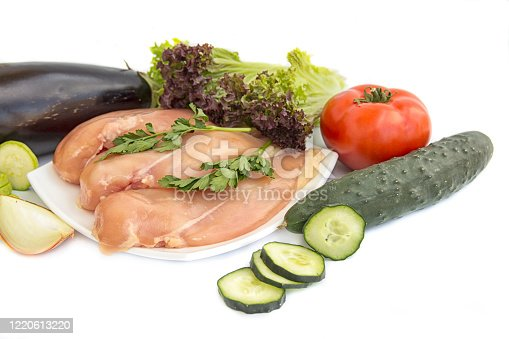 Fillets and fresh vegetables