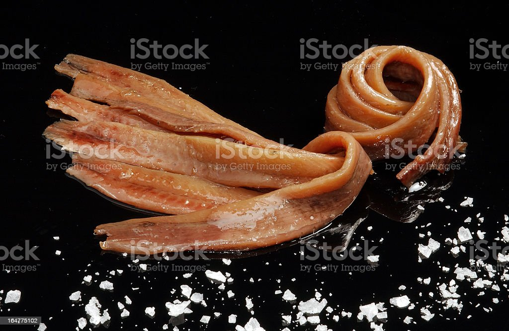 fillets of anchovies stock photo