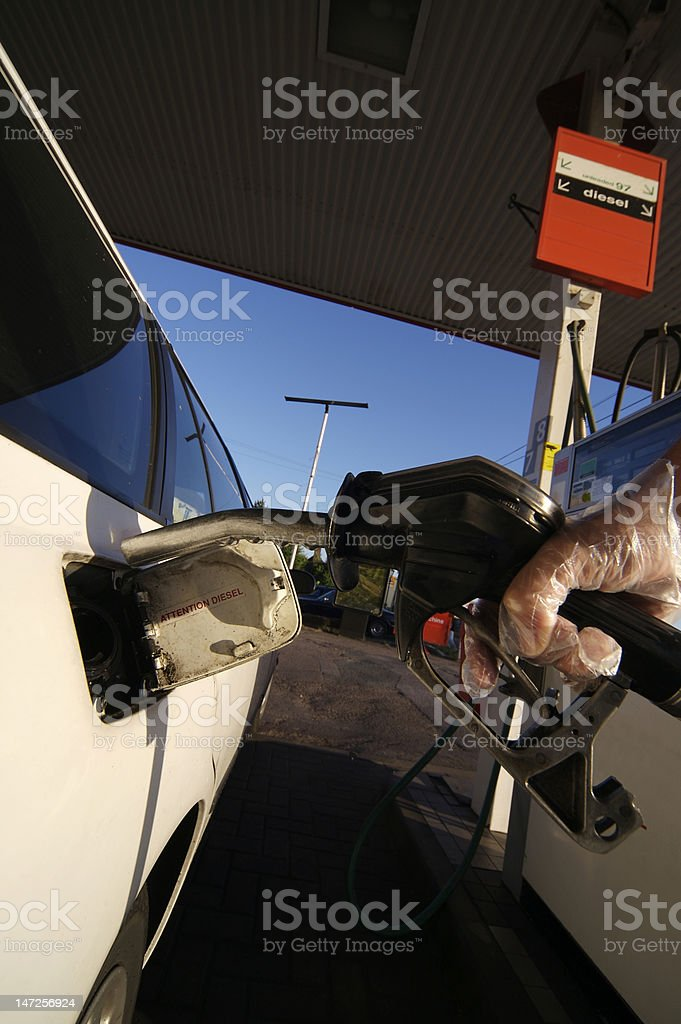 Filling a Diesel Car royalty-free stock photo