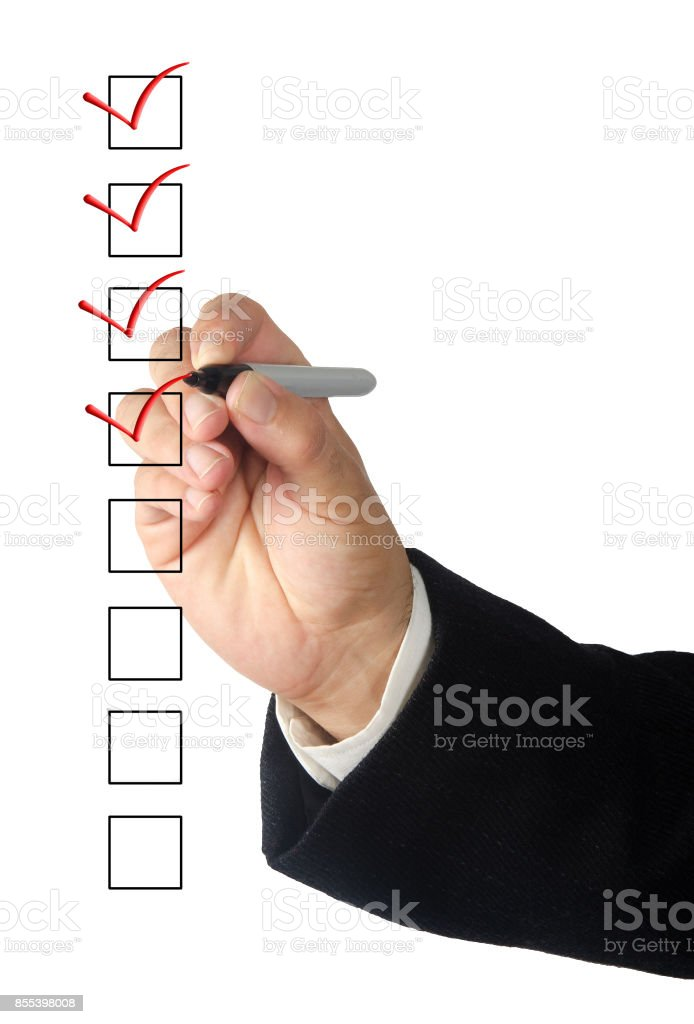 Filling checklist stock photo
