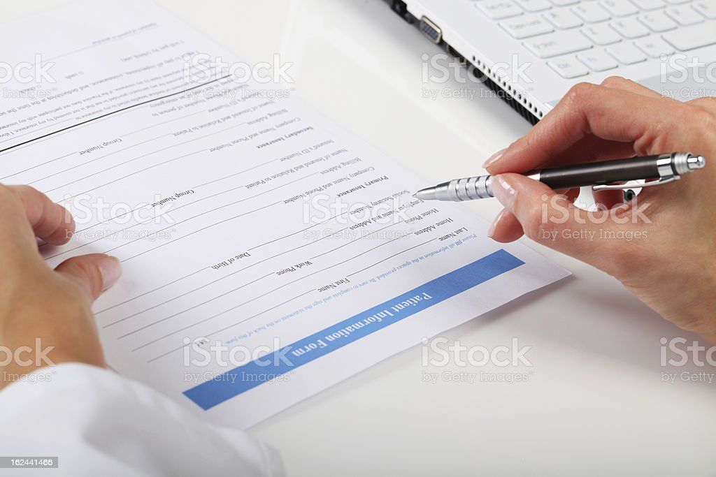 Filling Medical Form stock photo