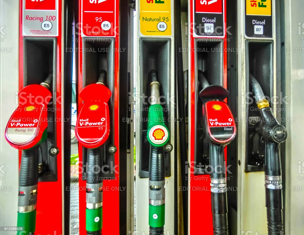 Filling Nozzles At A Shell Gas Station Stock Photo