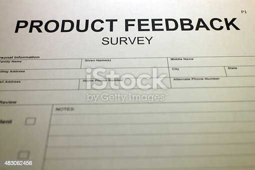 178090546 istock photo Filling out Product Rating Form 483062456