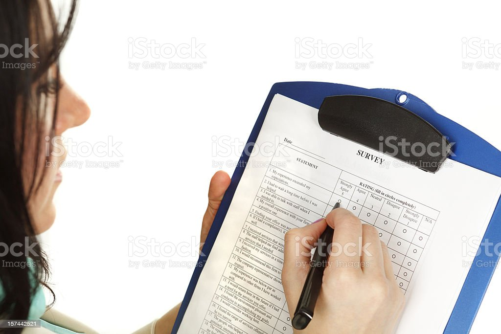 Filling Out Survey royalty-free stock photo