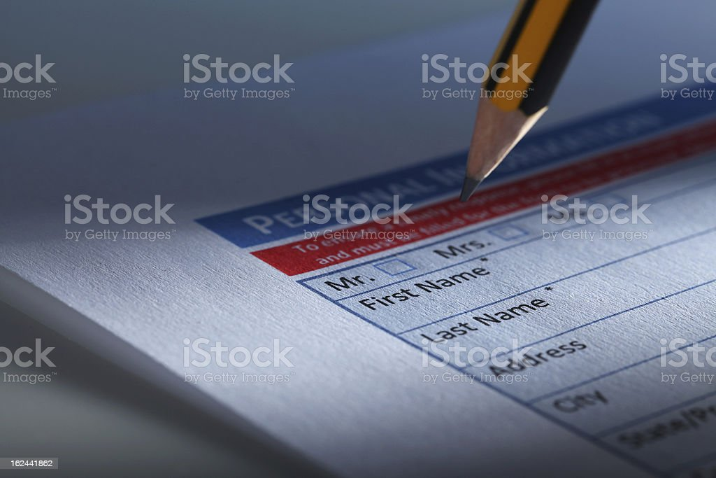 Filling Personal Information Form stock photo