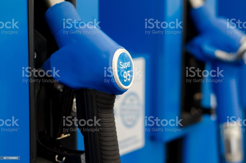 Filling petroll in station stock photo