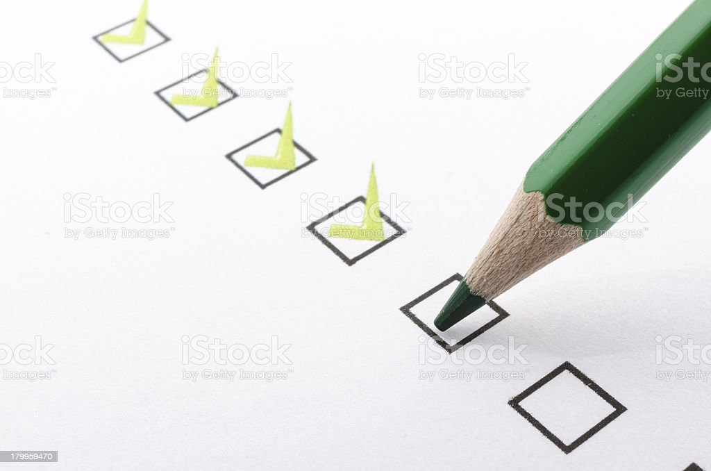 Filling questionnaire stock photo