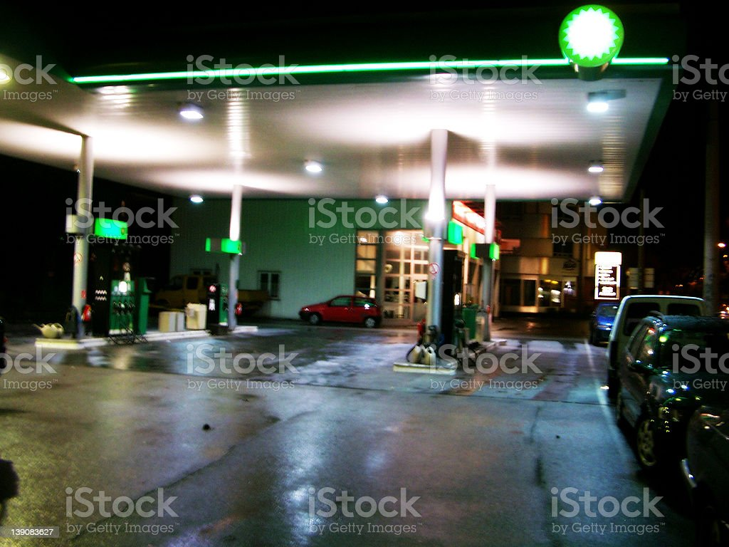 filling station in the night royalty-free stock photo