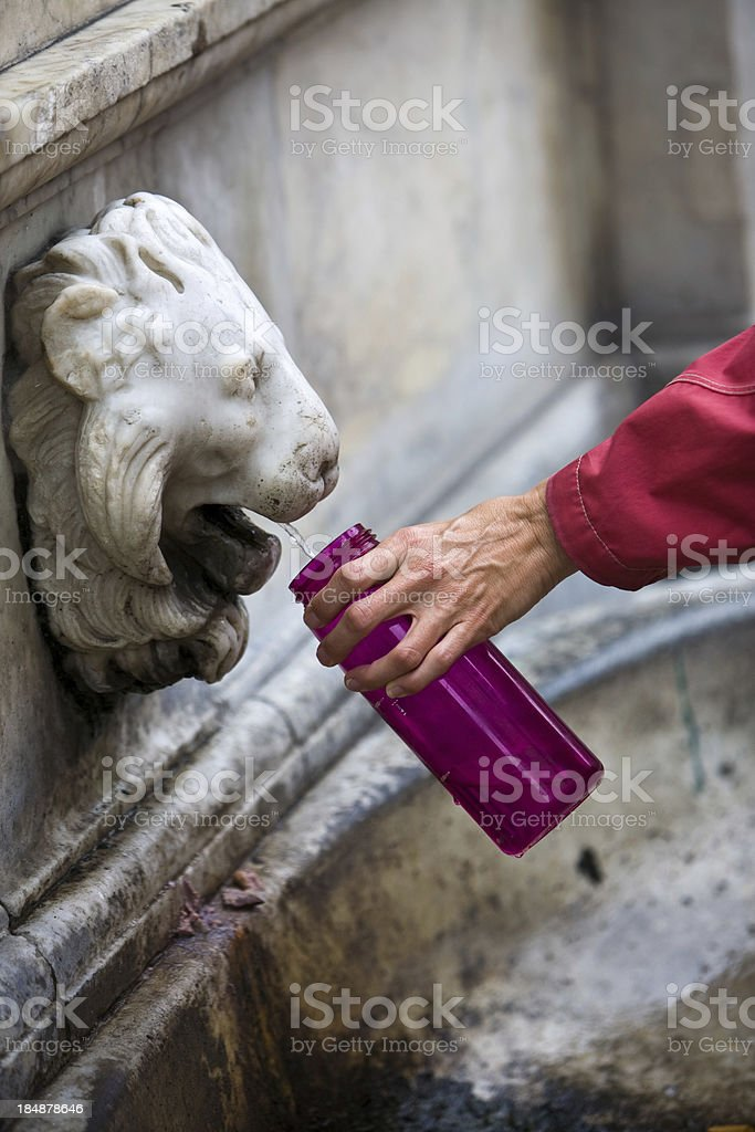 Filling the water bottle royalty-free stock photo