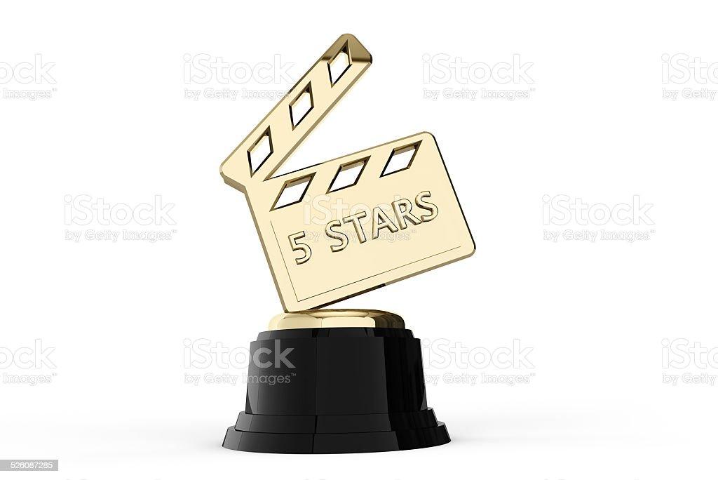Film and cinema 5 stars trophy stock photo