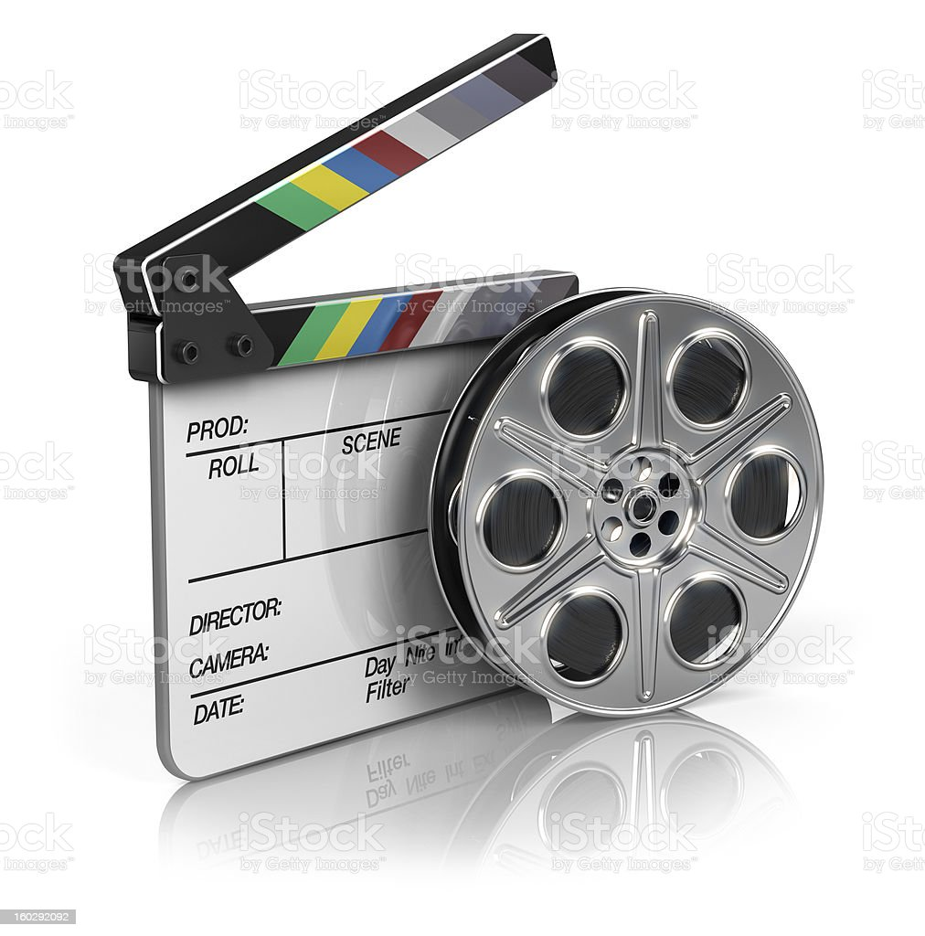 Film and clapper board royalty-free stock photo