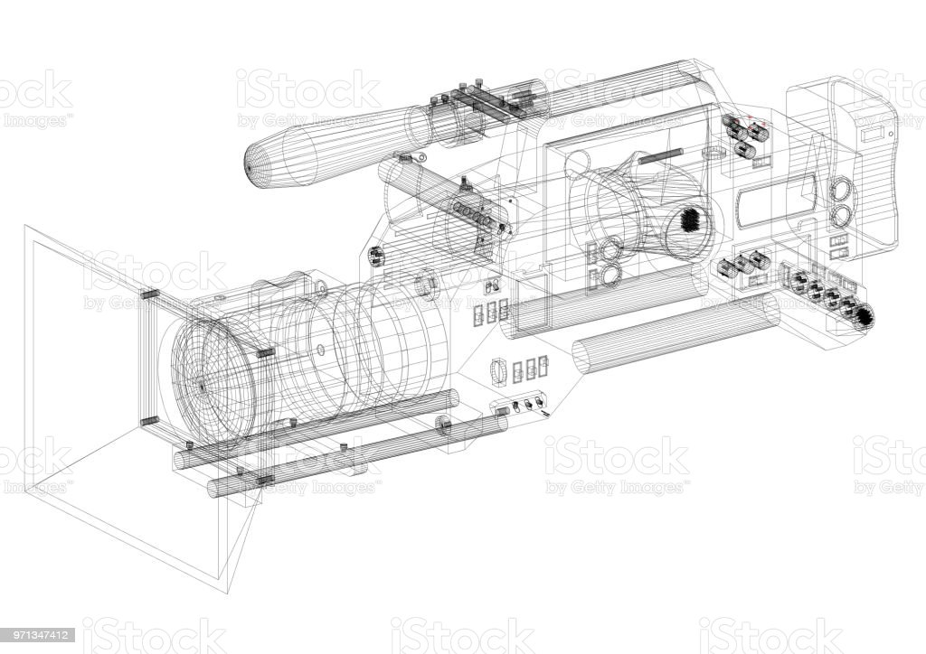 Film camera Architect blueprint - isolated