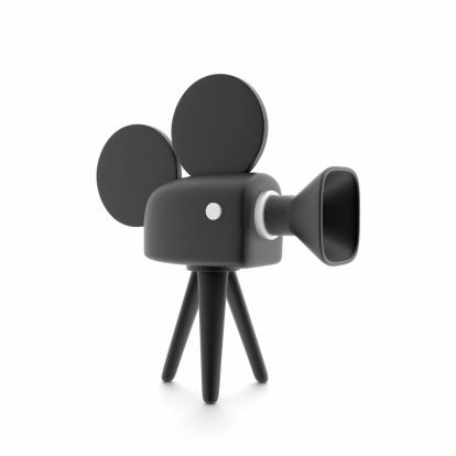 Film camera as a symbol of cinema, on white.