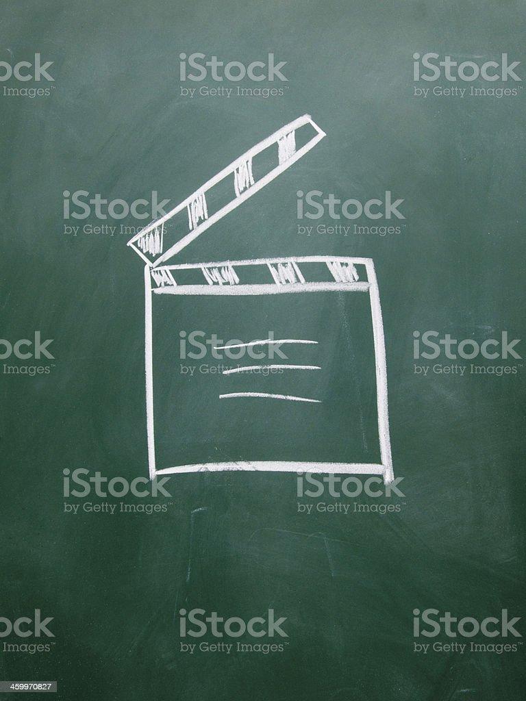 film clap board drawn with chalk on blackboard stock photo