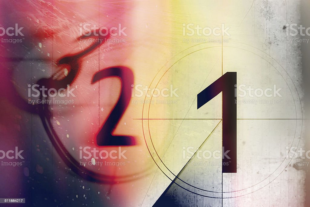 film countdown 3 2 1 stock photo