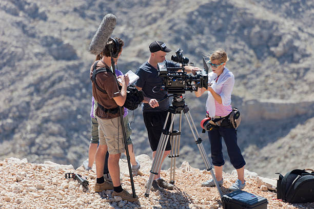 Film Crew at work in the Taurus Mountains stock photo