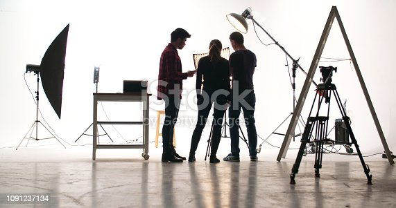 Film crew in the studio.