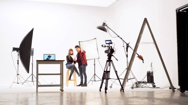 Film crew in the studio stock photo