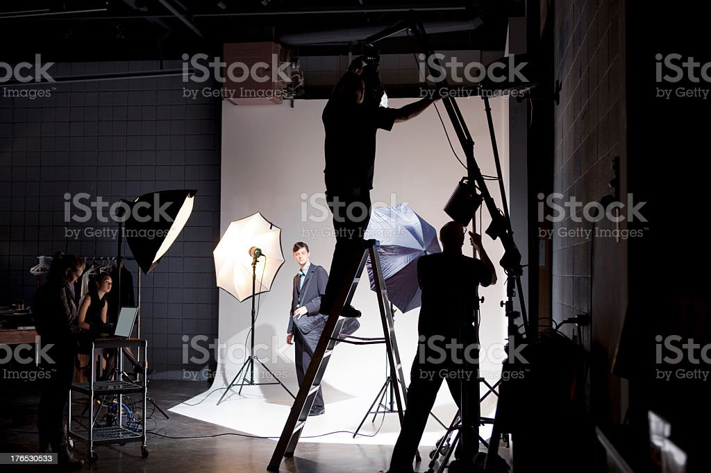 Film Crew Working on Set stock photo
