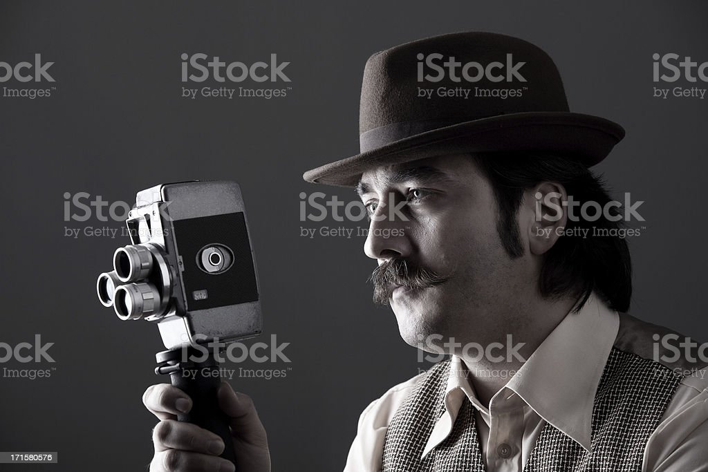 Film director behind camera stock photo