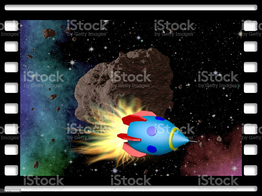 Film frame with asteroid and rocket stock photo