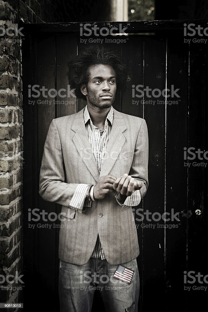 Film Grain Photo of a Young Man royalty-free stock photo