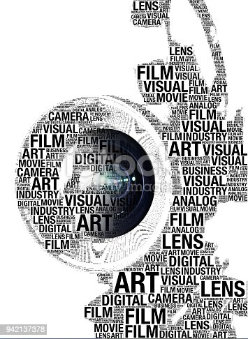 Silhouette of a film camera formed by related words