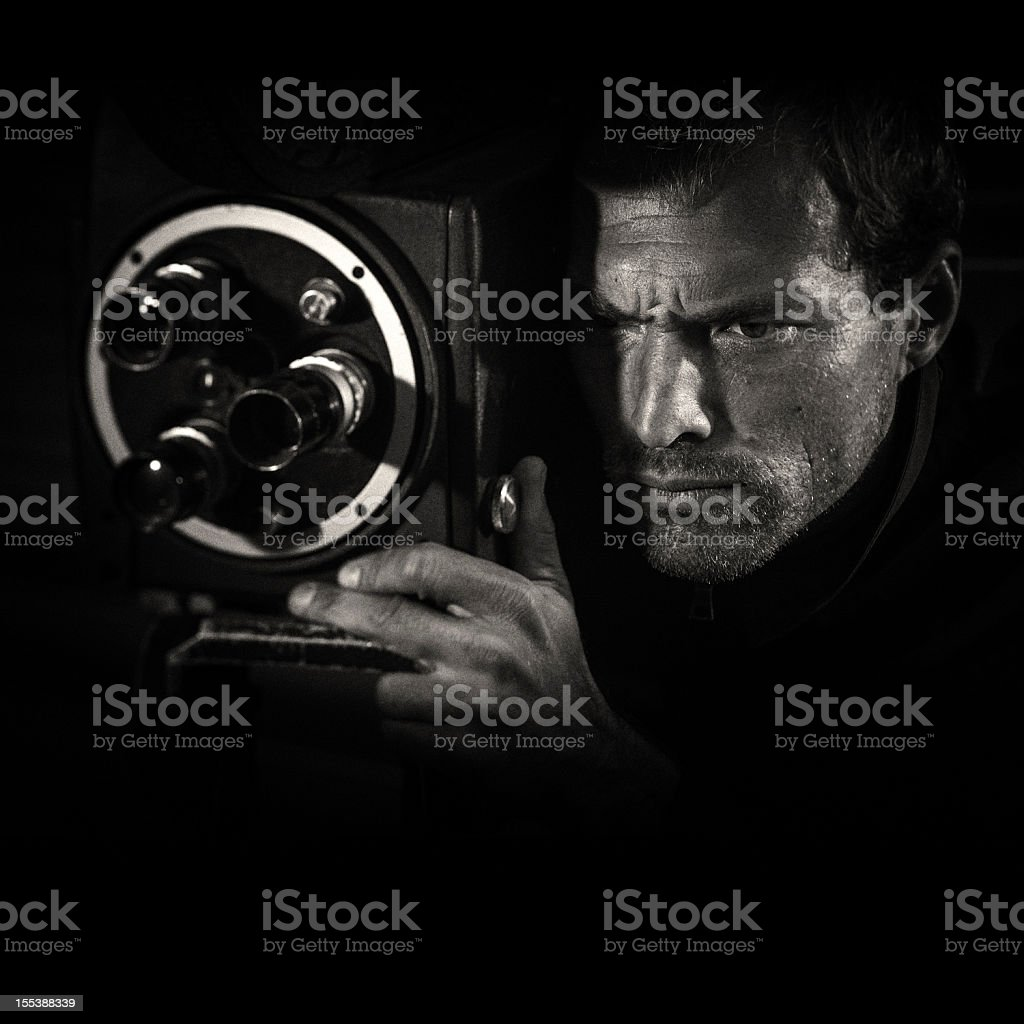 film noir movie director stock photo