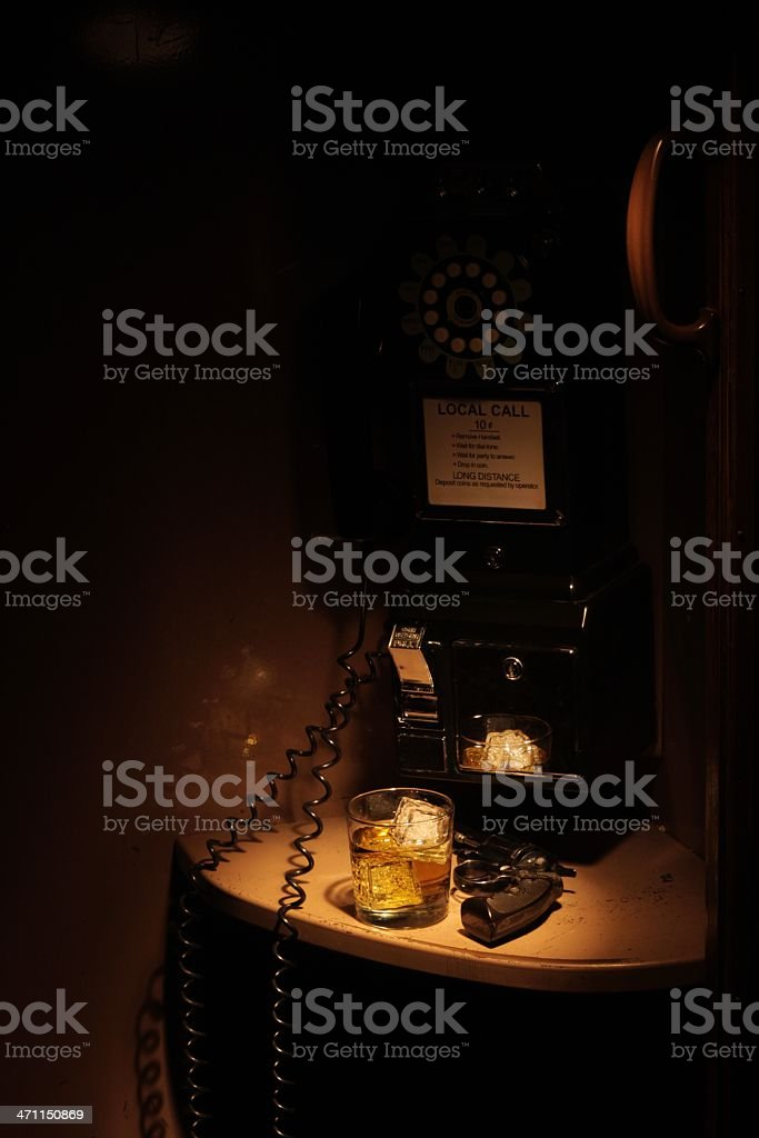 Film Noir Phone Booth - Rough Night royalty-free stock photo