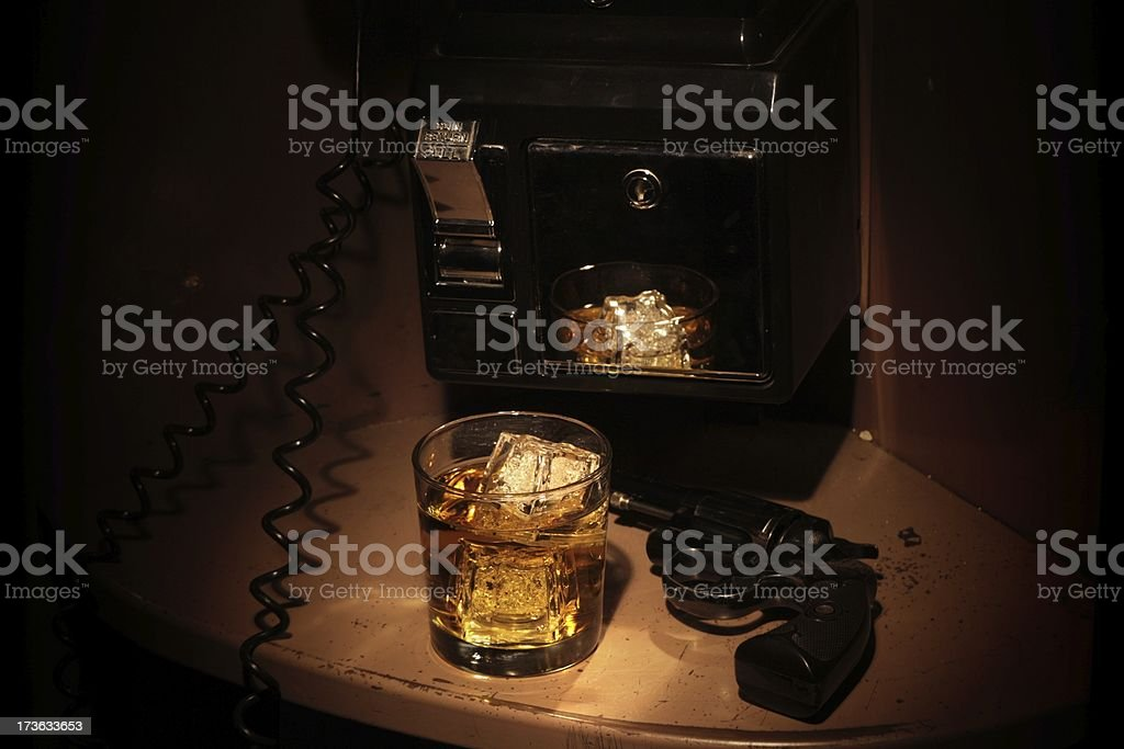 Film Noir Phone Booth - Scotch and a Revolver royalty-free stock photo