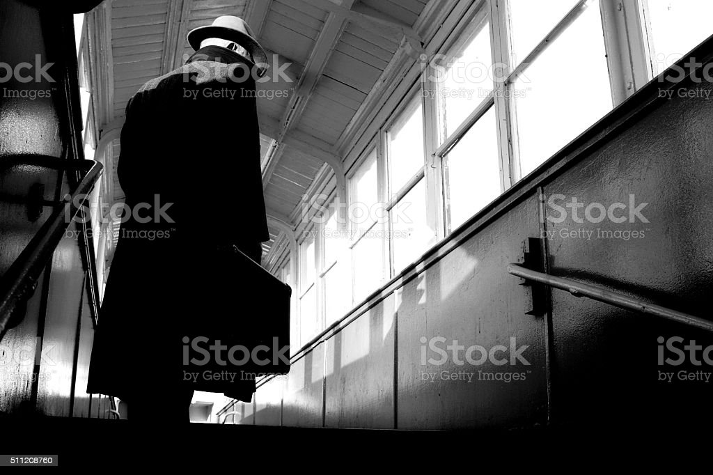Film Noir style man stock photo